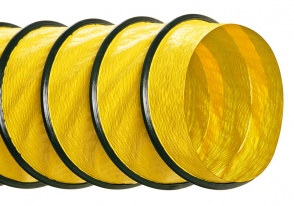 1PN-EP-HM Flexible Hose from Hi-Tech Duravent, one ply polyester neoprene coated expanded pitch with enclosed wire helix and a vinyl wearstrip, yellow with black wearstrip
